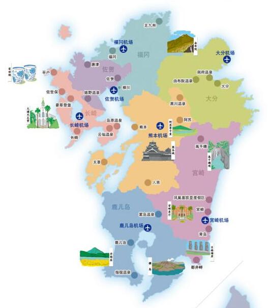 日本九州岛地图,福冈与熊本两地紧邻
